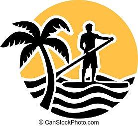 立ちなさい, 海, アイコン, の上, やし, 太陽, かいで漕ぐ