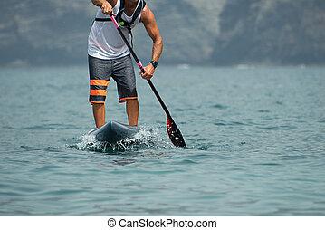 立ち上がりなさい, かい, 板, 人, paddleboarding