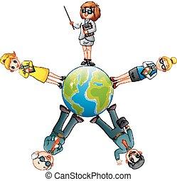 立ったままの地球儀, のまわり, 漫画, 人々