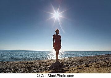 立つ, 背中, 陸上, 回転, 反対, 女, 彼, 太陽
