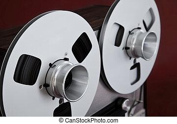 立体聲, 甲板, 卷起, 線軸, 磁帶錄音机, 打開, 模式