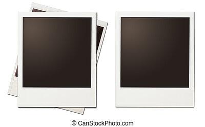 立即, 相片, 即顯膠片, 被隔离, retro, 框架, 白色