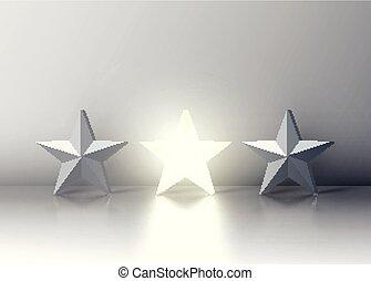立場, 從, the, 人群, 發光, 星, 在中間, 灰色, 部分, 矢量, 插圖