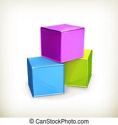 立方体, おもちゃ, ベクトル