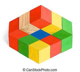立方体, おもちゃ, 非現実的, 不可能, 建設, 錯覚