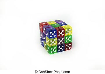 立方体, さいころ, カラフルである, sided, 6, ゲーム