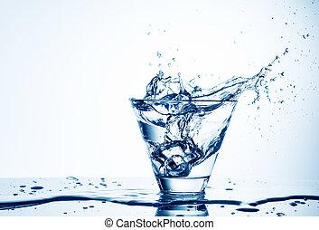 立方体, はねかけること, 隔離された, 氷, ガラス, 水, 白