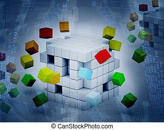 立方体, イラスト, 3d