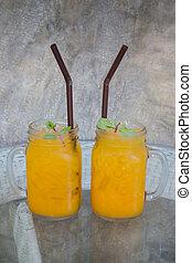 立方体, ジュース, 氷, ガラス, オレンジ, テーブル