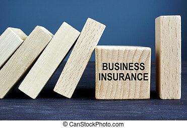 立方体, ビジネス, 木製である, blocks., 書かれた, 保険