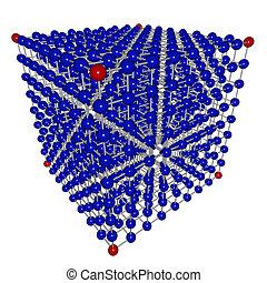 立方体, マトリックス, の, 接続される, 球