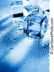 立方体, ライト, 上に, 背景, 背中, 氷, ぬれた