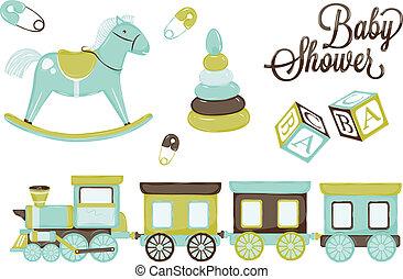 立方体, レトロ, 子馬, 蒸気, おもちゃ