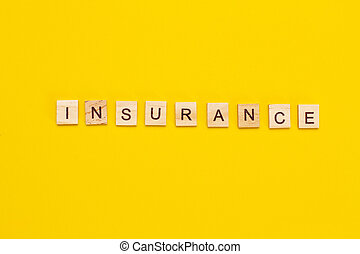 立方体, 保険, 碑文, 木製である, 背景, 黄色