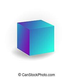 立方体, 勾配, 白, -, 隔離された, 形, ベクトル, 背景, holographic, 幾何学的, 3d