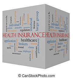 立方体, 単語, 概念, 健康保険, 雲, 3d