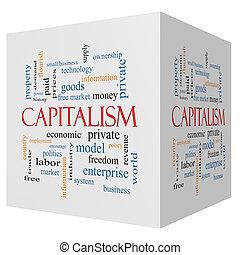 立方体, 単語, 資本主義, 概念, 雲, 3d