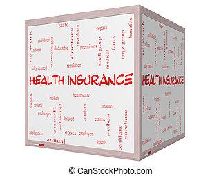 立方体, 単語, whiteboard, 概念, 健康保険, 雲, 3d