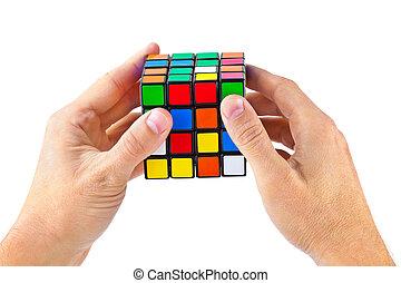 立方体, 困惑, 中に, 手