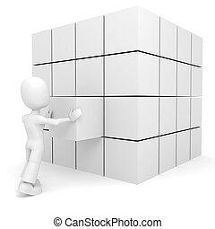 立方体, 押す, 場所, 3d, ∥そ∥, 人