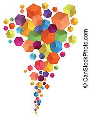 立方体, 抽象的, ベクトル, 3d