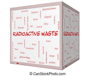 立方体, 放射性, whiteboard, 概念, 単語, 無駄, 雲, 3d