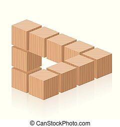立方体, 数字, 木製である, 光学, 不可能, 錯覚