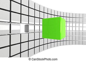 立方体, 明るい, 概念, 緑, 孤立した