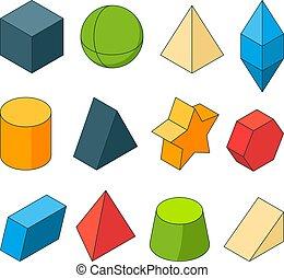 立方体, 有色人種, 幾何学, 映像, shapes., sets., 星, 他, ピラミッド, モデル, 3d