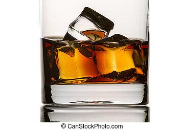 立方体, 氷, ガラス, ブランデー, クローズアップ, 背景, 白