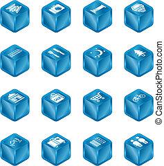 立方体, 観光客, セット, アイコン, 場所