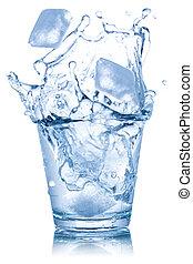 立方体, 隔離された, 氷 水, ガラス, 白