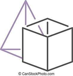 立方体, platonic, illustration., ピラミッド, 形, 固体, ベクトル, セット, 幾何学的