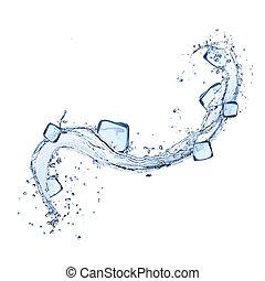 立方, 冰水, 飛濺, 背景, 白色