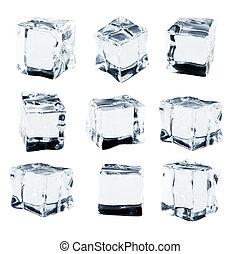 立方, 彙整, 被隔离, 冰, 背景, 白色