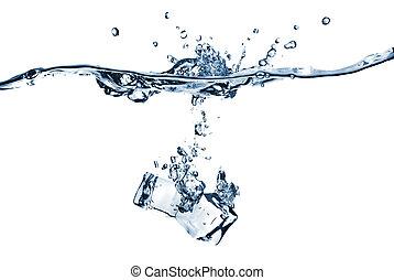 立方, 被隔离, 冰水, 飛濺, 落下, 白色