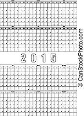 立案者, スペース, 大きい, 年報, editable, 2015, カレンダー
