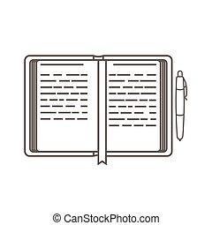 立案者, 芸術, ビジネス, 単純である, organizer., ベクトル, management., アイコン, pen., 線, 開いた, style., 日, アイコン