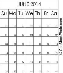 立案者, costumizable, 大きい, 6月, eps, ファイル, 2014, カレンダー