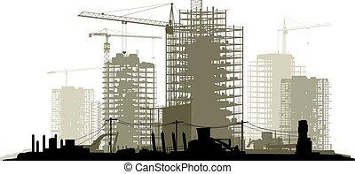 站点, 描述, 建设, 线, 起重机, 建筑物。