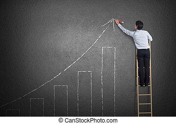 站立, 事務, 牆, 梯子, 圖表, 成長, 圖畫, 人