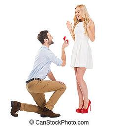 站立, 他的, 給, 結婚, 約會, 當時, 你, 意志, 長度, 充分, 做, 女朋友, 膝蓋, me?, 提議,...