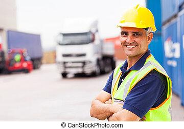 站立, 公司, 工人, 發貨, 外面, 倉庫, 年長者