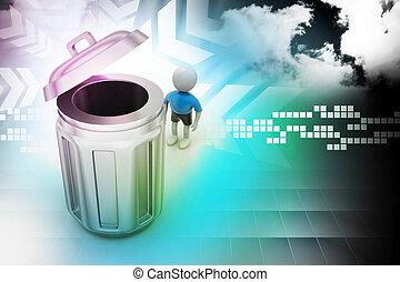 站立, 其次, 人, 罐頭, 小, 垃圾, 3d