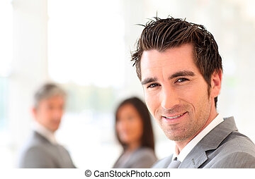 站立, 商人, 微笑, 大廳, 肖像