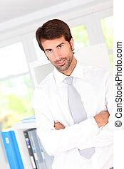 站立, 商人, 辦公室, 肖像