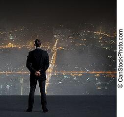 站立, 城市, 職業, 在上方, 事務, 背景。, 夜晚, 商人, 工作, concept.