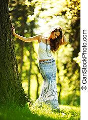 站立, 女孩, 樹, 其次