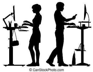 站立, 工人, 黑色半面畫像, 辦公室, 書桌