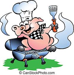站立, 廚師, 桶, bbq, 豬